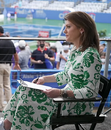 Norah's white and green floral dress on CBS Evening News