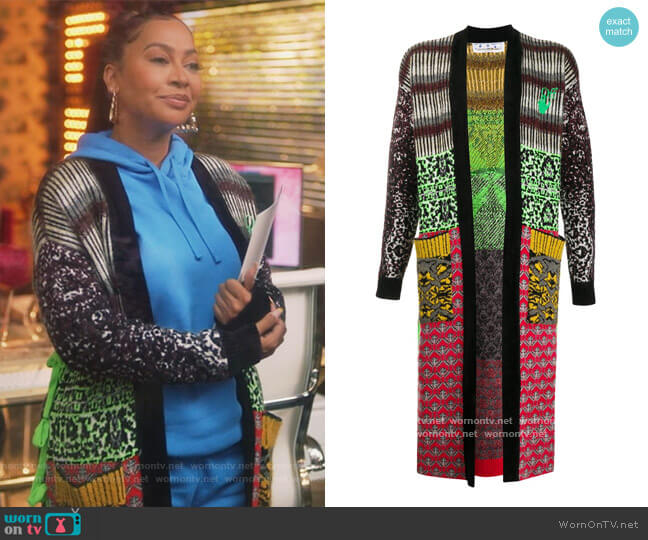 Calf-length intarsia-knit Cardigan by Off-White worn by La La Anthony on Grown-ish