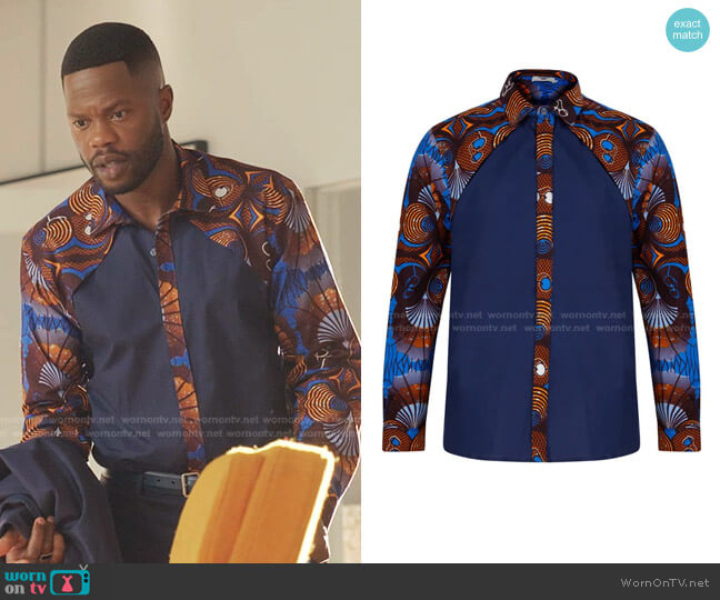 Luca Long sleeve African print shirt by Ohema Ohene worn by Jeff Colby (Sam Adegoke) on Dynasty