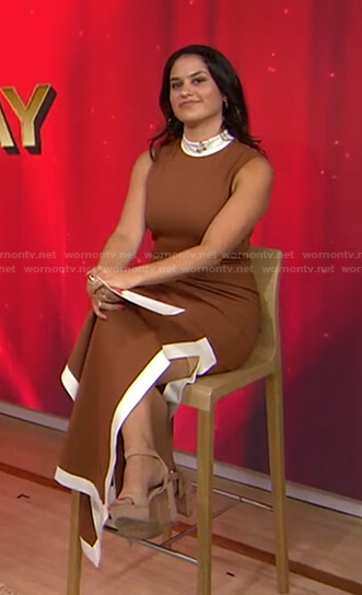 Donna's brown contrast trim sleeveless dress on Today