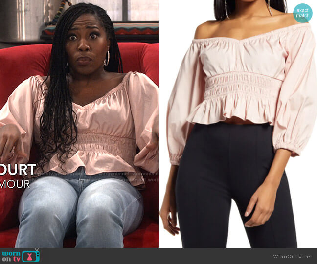 Open Edit Off the Shoulder Cotton Poplin Blouse worn by Harper (Laci Mosley) on iCarly