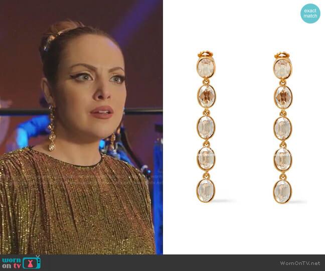 Gold Tone Crystal Clip Earrings by Oscar de la Renta worn by Fallon Carrington (Elizabeth Gillies) on Dynasty