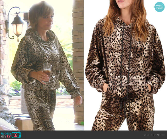 Cheetah Print Hoodie by Pam & Gela worn by Lisa Rinna  on The Real Housewives of Beverly Hills