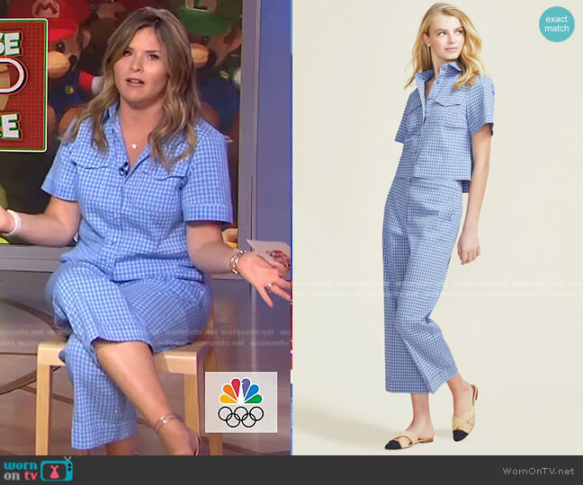 Stretch Seersucker Button Front Top and Casey Pant by Peal by Lela Rose worn by Jenna Bush Hager  on Today