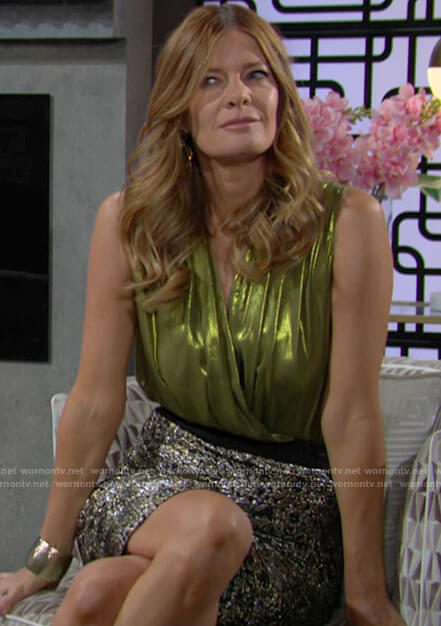 Phyllis's metallic green sleeveless top on The Young and the Restless