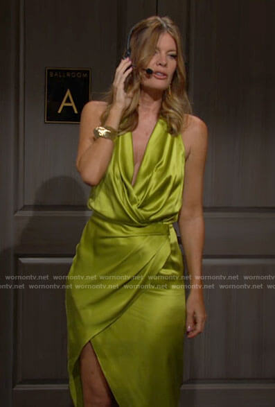 Phyllis's lime green satin party dress on The Young and the Restless