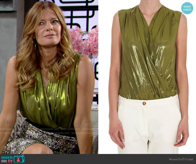 Pinko Metallic Sleeveless Wrap Bodysuit worn by Phyllis Summers (Michelle Stafford) on The Young & the Restless