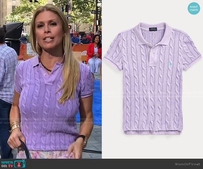 Cable-Knit Polo Shirt by Polo Ralph Lauren worn by Jill Martin  on Today