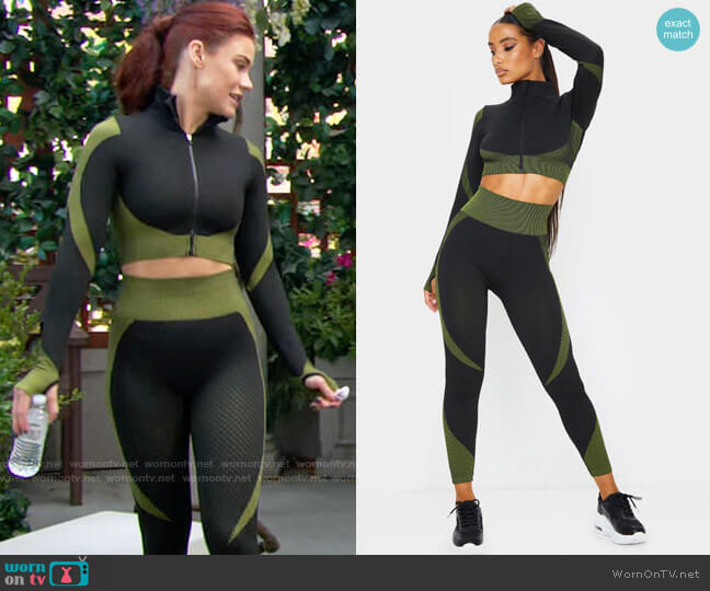 Pretty Little Thing Textured Cropped Zip Up Sports Top and Leggings worn by Sally Spectra (Courtney Hope) on The Young & the Restless