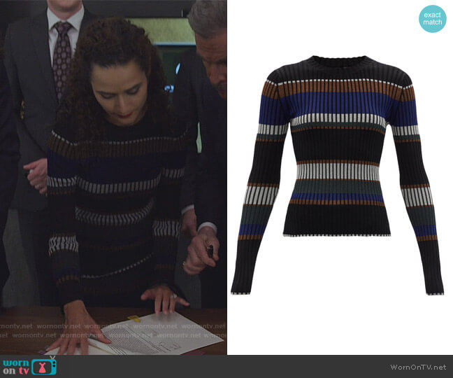 Striped Crewneck Sweater by Proenza Schouler worn by Stephanie Nogueras on The Good Fight