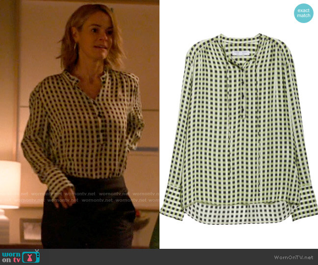 Proenza Schouler Gingham Georgette Blouse worn by Alice Pieszecki (Leisha Hailey) on The L Word Generation Q