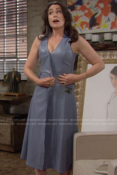 Quinn's blue leather wrap dress on The Bold and the Beautiful