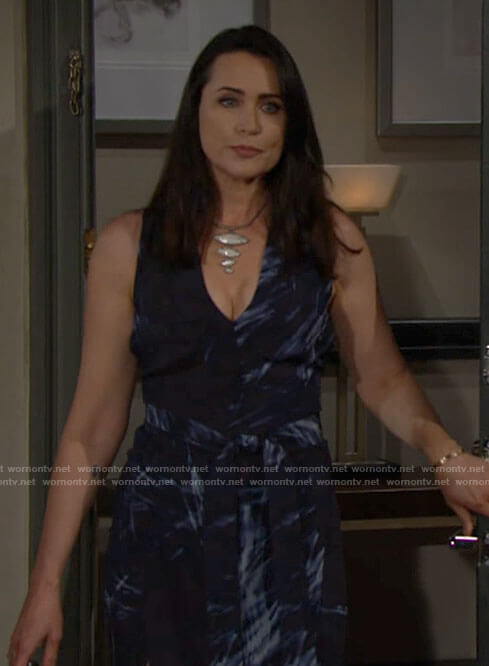 Quinn's blue abstract print dress on The Bold and the Beautiful