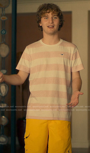 Quinn's striped t-shirt and yellow shorts on The White Lotus