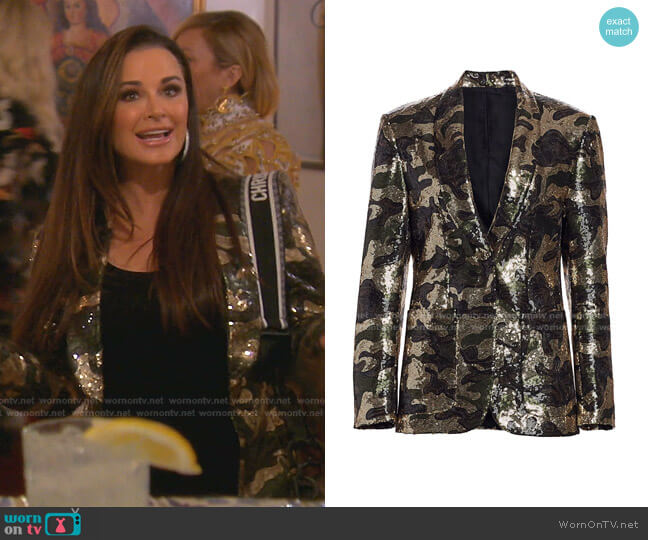 Camo Sequin Blazer by R13 worn by Kyle Richards  on The Real Housewives of Beverly Hills