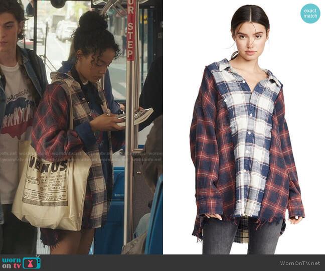 Drop Neck Combo Workshirt by R13 worn by Zoya Lott (Whitney Peak) on Gossip Girl