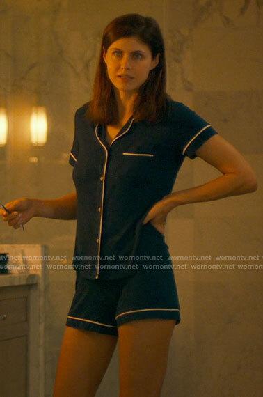 Rachel's navy pajamas on The White Lotus
