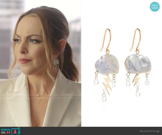 Small Storm Pearl 14K Yellow Gold Earrings by Rachel Quinn worn by Fallon Carrington (Elizabeth Gillies) on Dynasty