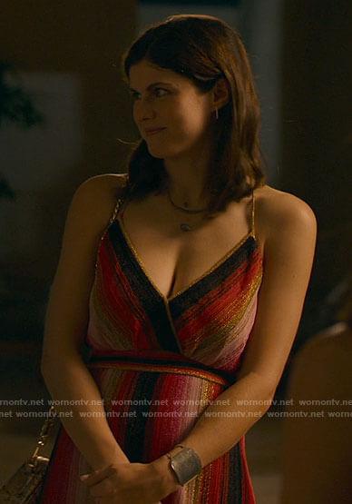 Rachel's metallic striped dress on The White Lotus