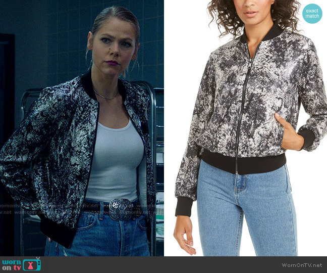 Rachel Zoe Oria Sequined Bomber Jacket worn by Isobel Evans-Bracken (Lily Cowles) on Roswell New Mexico