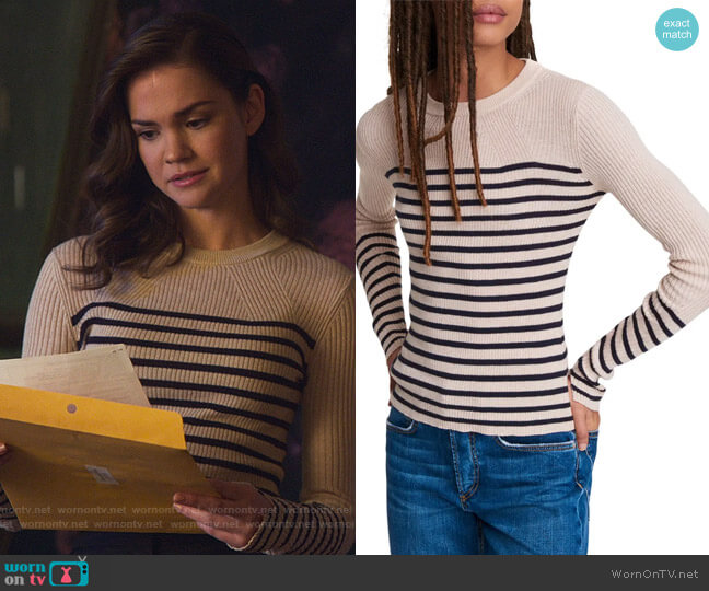 Kate Stripe Cotton & Cashmere Sweater by Rag and Bone worn by Callie Foster (Maia Mitchell) on Good Trouble
