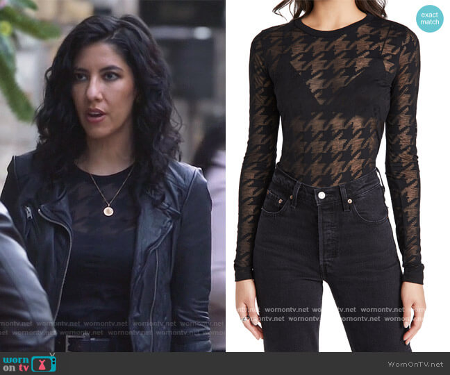 Valencia Houndstooth Long Sleeve by Rag and Bone worn by Rosa Diaz (Stephanie Beatriz) on Brooklyn Nine-Nine