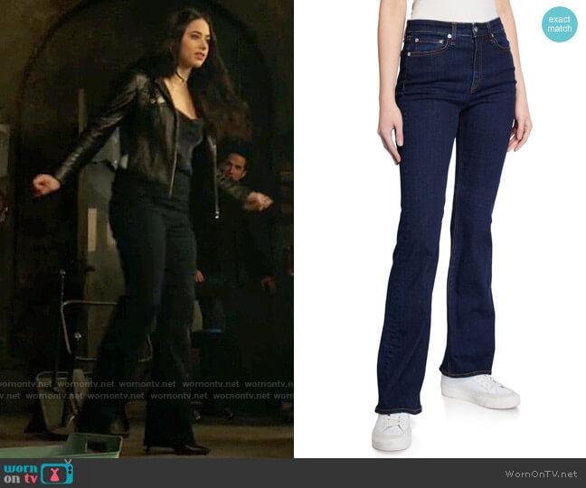 Rag & Bone Nina High-Rise Boot-Cut Denim Jeans worn by Liz Ortecho (Jeanine Mason) on Roswell New Mexico