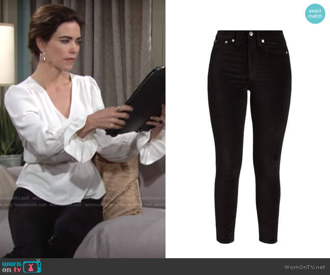 Rag & Bone Nina Velvet Pants worn by Victoria Newman (Amelia Heinle) on The Young & the Restless