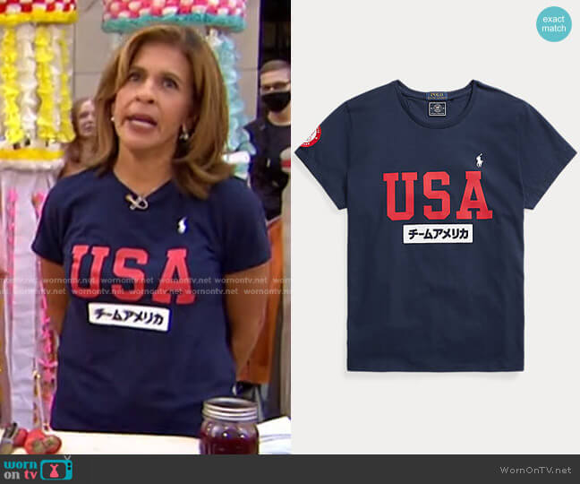 ECOFAST Pure Team USA Jersey Tee by Ralph Lauren worn by Hoda Kotb  on Today