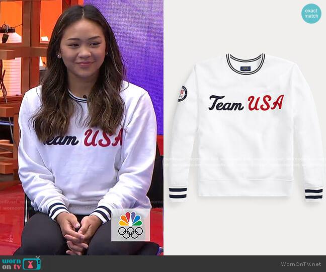 Team USA Crewneck Sweatshirt by Ralph Lauren worn by Sunisa Lee on Today