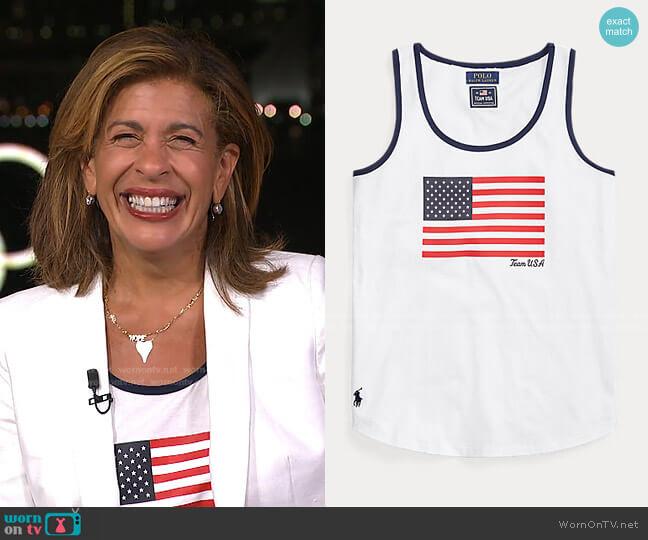 Team USA Flag Jersey Tank Top by Ralph Lauren worn by Hoda Kotb  on Today
