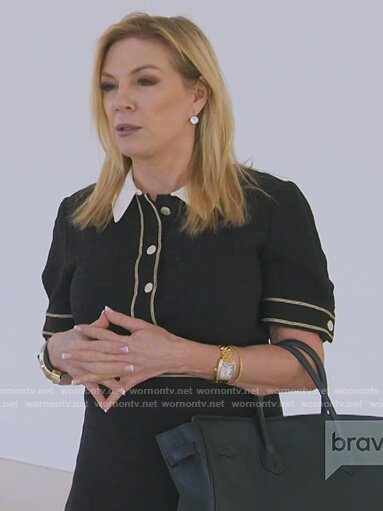 Ramona's black contrast trim tweed dress on The Real Housewives of New York City