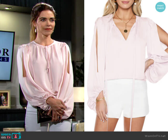 Ramy Brook Aubrie Slit Balloon Sleeve Blouse worn by Victoria Newman (Amelia Heinle) on The Young & the Restless