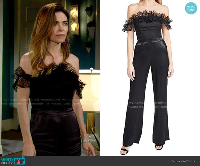 Ramy Brook Kourtney Jumpsuit worn by Victoria Newman (Amelia Heinle) on The Young & the Restless