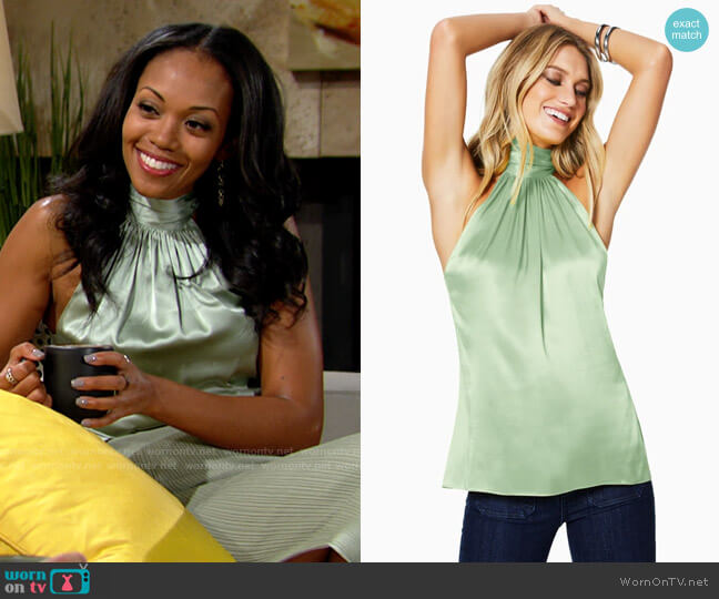 Ramy Brook Lori Top in Wild Sage worn by Amanda Sinclair (Mishael Morgan) on The Young & the Restless
