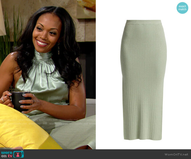 Ramy Brook Traci Skirt worn by Amanda Sinclair (Mishael Morgan) on The Young & the Restless