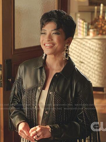 Rachel's black fringed leather jacket on Dynasty