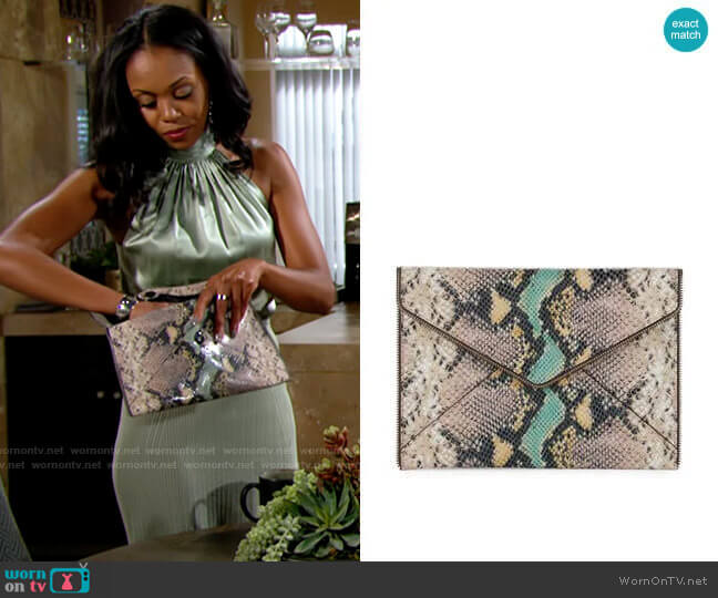 Rebecca Minkoff Snake Leo Clutch  worn by Amanda Sinclair (Mishael Morgan) on The Young & the Restless