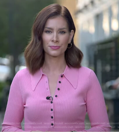 Rebecca's pink ribbed polo top on Good Morning America