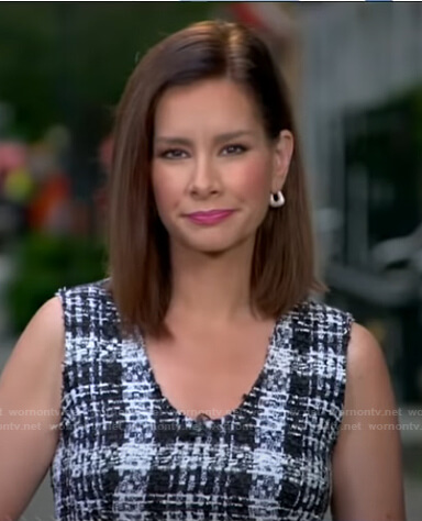 Rebecca's plaid sleeveless tweed top on Good Morning America