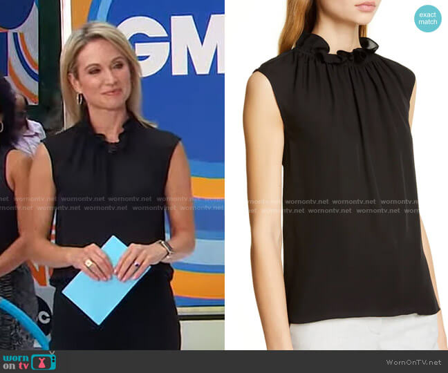 Ruffle Neck Silk Georgette Top by Rebecca Taylor worn by Amy Robach  on Good Morning America
