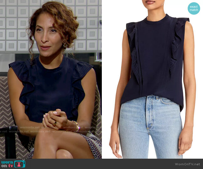 Rebecca Taylor Sleeveless Pintuck Blouse worn by Lily Winters (Christel Khalil) on The Young & the Restless