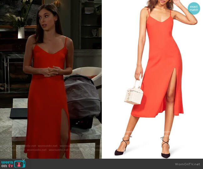 Crimini Slipdress by Reformation worn by Willow Tait (Katelyn MacMullen) on General Hospital