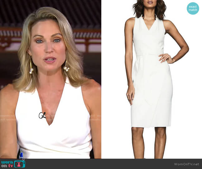 Macy Belted Faux Wrap Dress by Reiss worn by Amy Robach  on Good Morning America