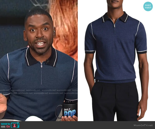 Regis Slim Fit Wool Blend Polo by Reiss worn by Justin Sylvester  on E! News