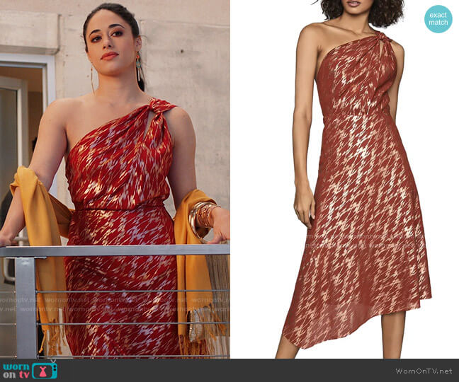 Reiss Delilah One-Shoulder Dress worn by Liz Ortecho (Jeanine Mason) on Roswell New Mexico