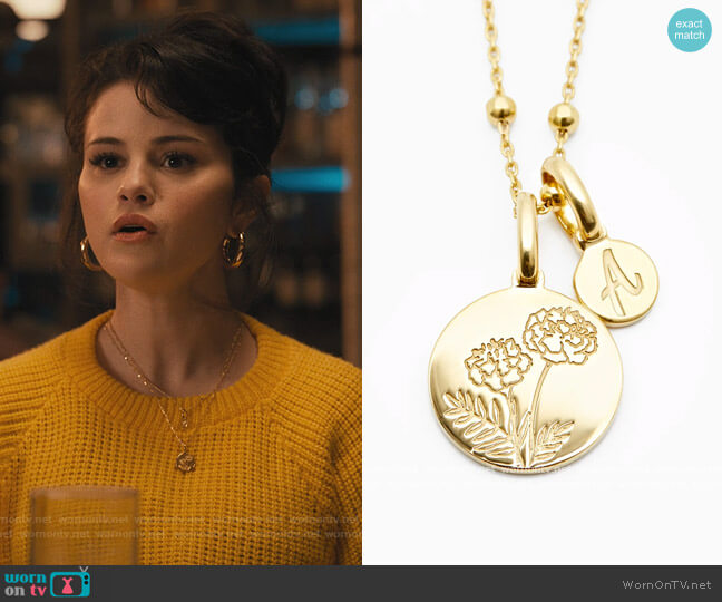 Marigold October Flower Necklace - Dainty by Rellery worn by Mabel Mora (Selena Gomez) on Only Murders in the Building