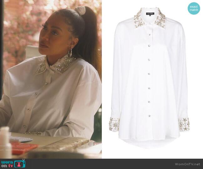 Reagan crystal-embellished shirt by Retrofete worn by La La Anthony on Grown-ish