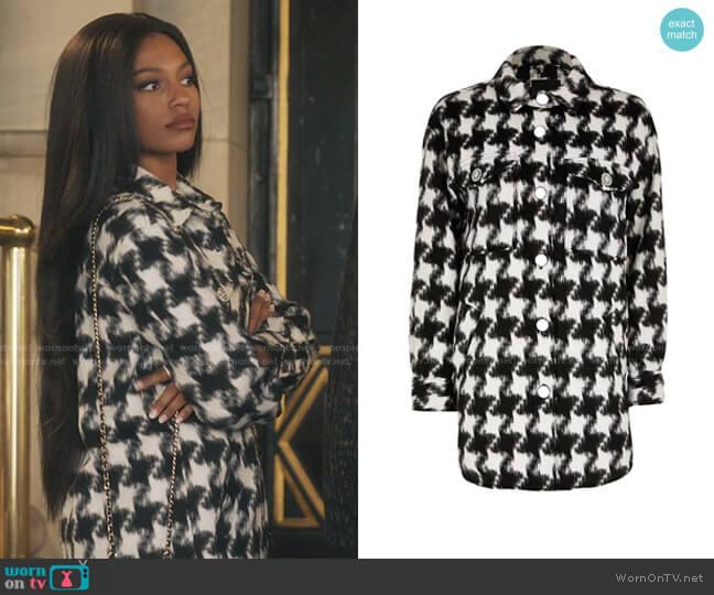 Houndstooth Check Overshirt Jacket by River Island worn by Monet de Haan (Savannah Lee Smith) on Gossip Girl