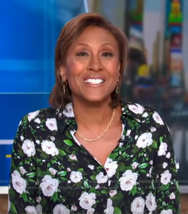Robin's black floral blouse on Good Morning America